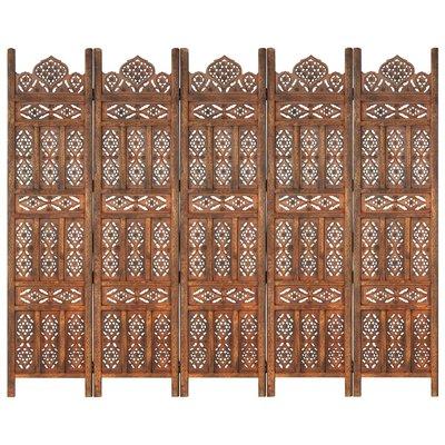 Kamerscherm 5 panelen handgesneden 200x165 cm mangohout bruin