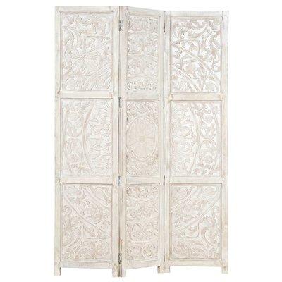 Kamerscherm met 3 panelen handgesneden 120x165 cm mangohout wit