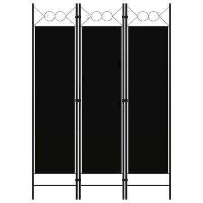 Kamerscherm met 3 panelen 120x180 cm zwart