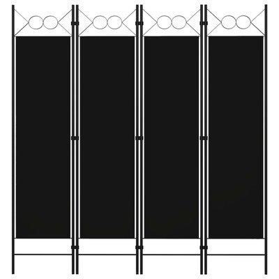 Kamerscherm met 4 panelen 160x180 cm zwart