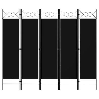 Kamerscherm met 5 panelen 200x180 cm zwart