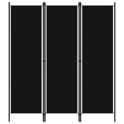 Kamerscherm met 3 panelen 150x180 cm zwart