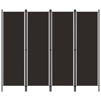 Kamerscherm met 4 panelen 200x180 cm bruin