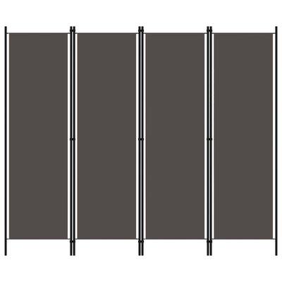 Kamerscherm met 4 panelen 200x180 cm antraciet
