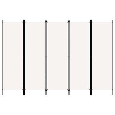 Kamerscherm met 5 panelen 250x180 cm wit