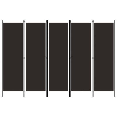 Kamerscherm met 5 panelen 250x180 cm bruin