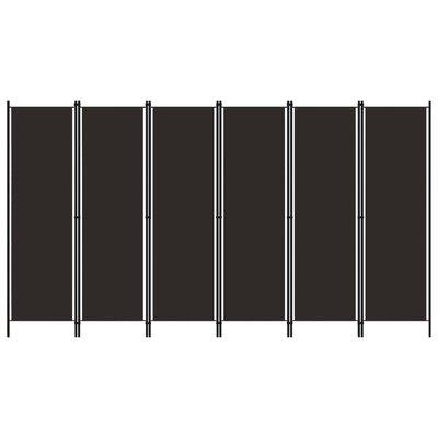 Kamerscherm met 6 panelen 300x180 cm bruin