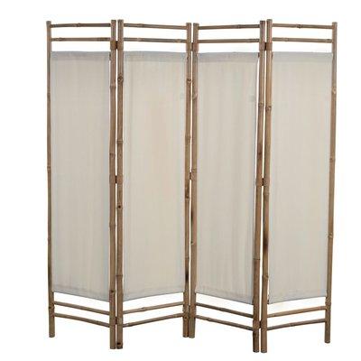 Kamerscherm 4-panelen inklapbaar 160 cm bamboe en canvas