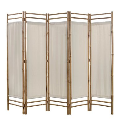 Kamerscherm 5-panelen inklapbaar 200 cm bamboe en canvas