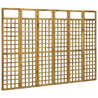 Latwerk/Kamerscherm met 6 panelen 240x170 cm massief acaciahout