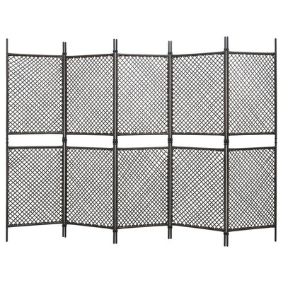 Kamerscherm met 5 panelen 300x200 cm poly rattan bruin