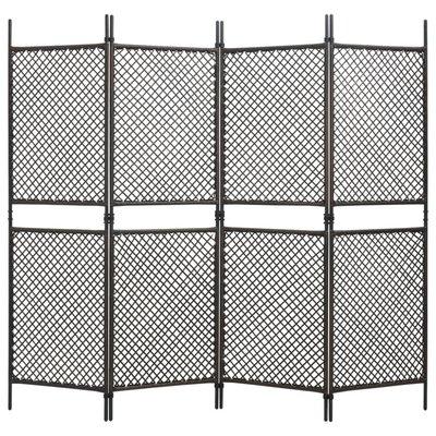 Kamerscherm met 4 panelen 240x200 cm poly rattan bruin