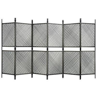 Kamerscherm met 6 panelen 360x200 cm poly rattan antraciet