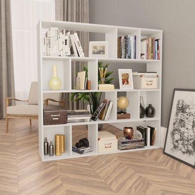 Kamerscherm/boekenkast 110x24x110 cm spaanplaat wit