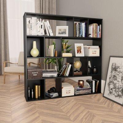 Kamerscherm/boekenkast 110x24x110 cm spaanplaat zwart