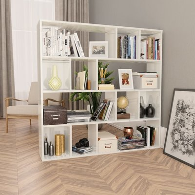 Kamerscherm/boekenkast 110x24x110 cm spaanplaat hoogglans wit