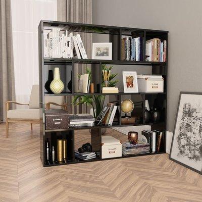Kamerscherm/boekenkast 110x24x110 cm spaanplaat hoogglans zwart