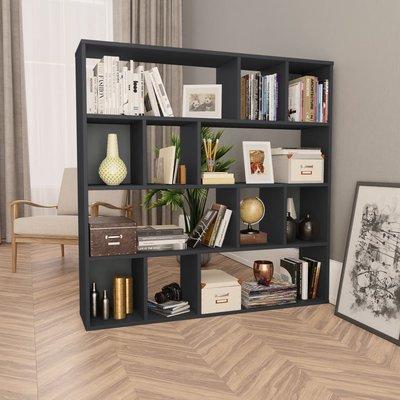 Kamerscherm/boekenkast 110x24x110 cm spaanplaat hoogglans grijs