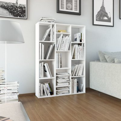 Kamerscherm/boekenkast 100x24x140 cm spaanplaat wit