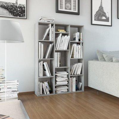Kamerscherm/boekenkast 100x24x140 cm spaanplaat betongrijs