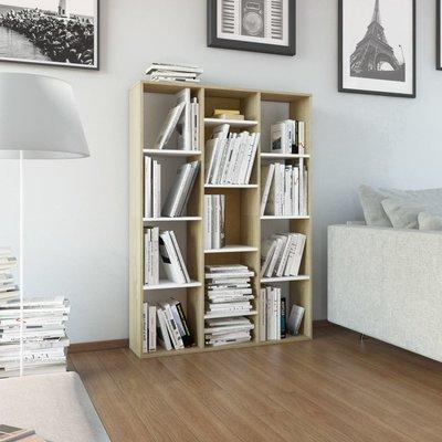 Kamerscherm/boekenkast 100x24x140 cm spaanplaat wit eikenkleur