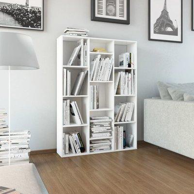 Kamerscherm/boekenkast 100x24x140 cm spaanplaat hoogglans wit