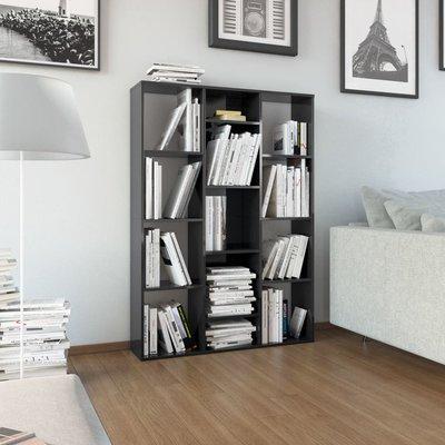 Kamerscherm/boekenkast 100x24x140 cm spaanplaat hoogglans zwart