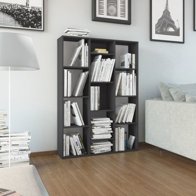 Kamerscherm/boekenkast 100x24x140 cm spaanplaat hoogglans grijs