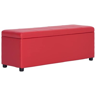 Bankje met opbergvak 116 cm kunstleer rood
