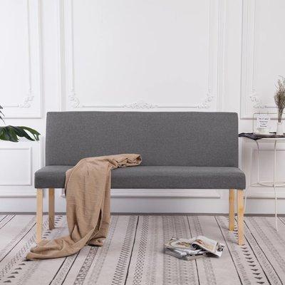 Bankje 139,5 cm polyester lichtgrijs