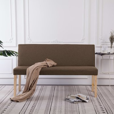 Bankje 139,5 cm polyester bruin