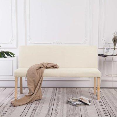 Bankje 139,5 cm polyester crème