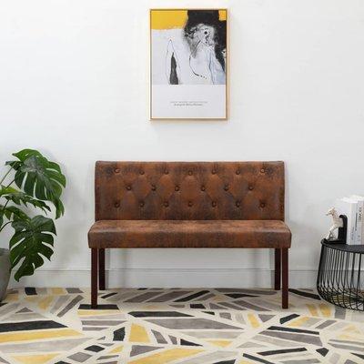 Bankje 120 cm kunstsuède bruin