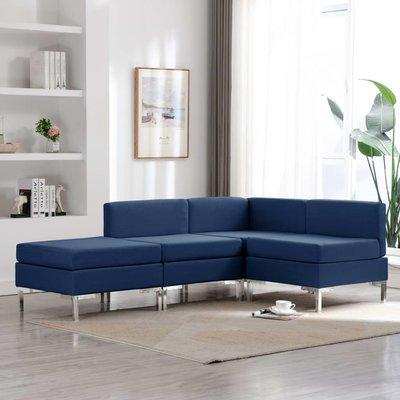 4-delig Bankstel stof blauw