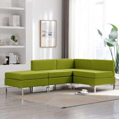 4-delig Bankstel stof groen