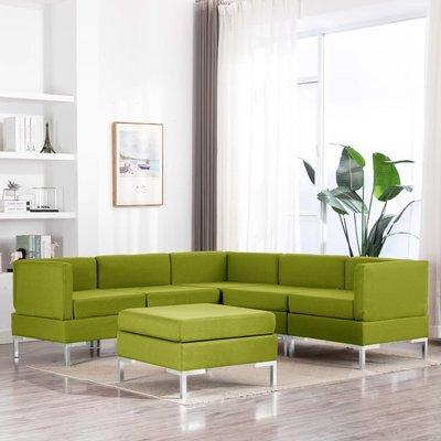 6-delig Bankstel stof groen