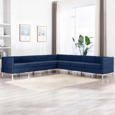 7-delig Bankstel stof blauw