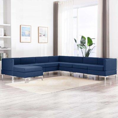 8-delig Bankstel stof blauw