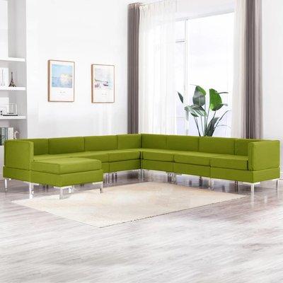 8-delig Bankstel stof groen