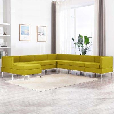 8-delig Bankstel stof geel