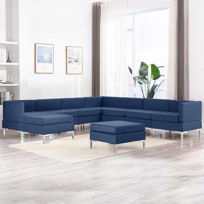 9-delig Bankstel stof blauw
