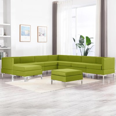 9-delig Bankstel stof groen
