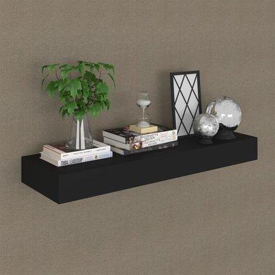 Wandschap met lade zwevend 80x25x8 cm zwart