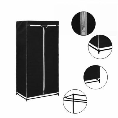 Kledingkast 75x50x160 cm zwart