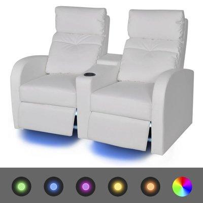 LED Dubbele leunstoel 2-zits kunstleer wit