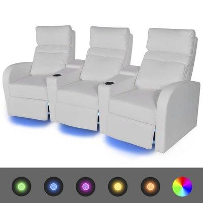 LED Driedubbele Leunstoel 3-zits kunstleer wit