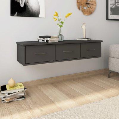 Wandschap met lades 90x26x18,5 cm spaanplaat grijs