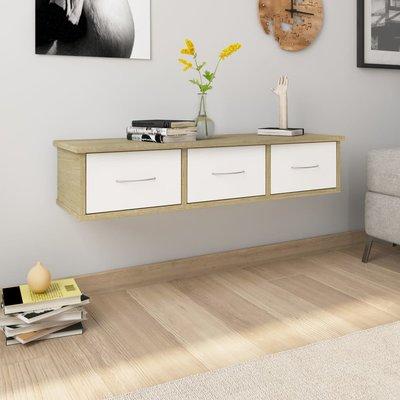 Wandschap met lades 90x26x18,5 cm spaanplaat wit sonoma eiken