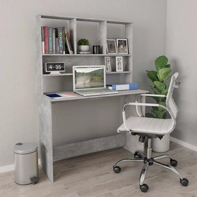 Bureau met schappen 110x45x157 cm spaanplaat betongrijs