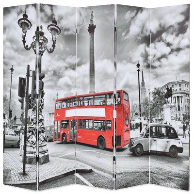 Kamerscherm inklapbaar Londen bus 200x170 cm zwart en wit